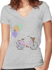 Love to Cycle on my Pink Bike Women's Fitted V-Neck T-Shirt