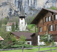 Quaint Alpine Scene in Lauterbrunnen, Switzerland by M-EK
