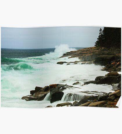 Storm Seas at Acadia National Park Poster