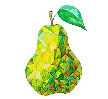 Low Poly Watercolor Pear by LidiaP