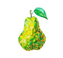 Low Poly Watercolor Pear Photographic Print