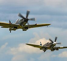 Two Griffon-engined Spitfires Take-off by Colin Smedley