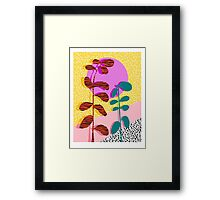 Homefry - floral neon memphis dots grid pink sunset sunrise 1980 1980s 1980's 80s 80's throwback art Framed Print
