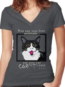Vegan Vegetarian Kitty Shock Women's Fitted V-Neck T-Shirt