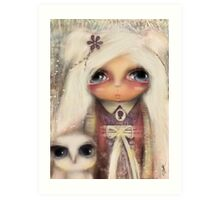 cameo girl and owl companion Art Print