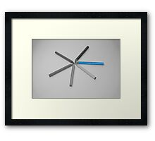 Thin Blue Line Star Burst Framed Print
