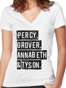 Percy, Grover, Annabeth & Tyson Women's Fitted V-Neck T-Shirt