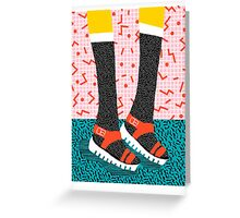 Kicks - throwback retro vintage 1980 1980's 80s 80's memphis bright neon colorful urban chic hipster Greeting Card