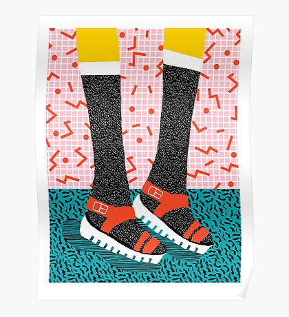 Kicks - throwback retro vintage 1980 1980's 80s 80's memphis bright neon colorful urban chic hipster Poster