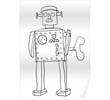 robot vintage toy cute art Poster