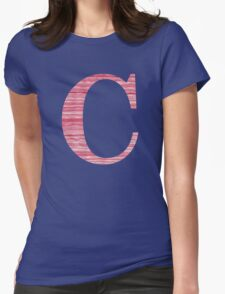 Letter C Red Watercolor Stripes Initial Monogram Womens Fitted T-Shirt