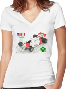 Mario Andretti and the Alfa Romeo 179c F1 Car 1981 Women's Fitted V-Neck T-Shirt
