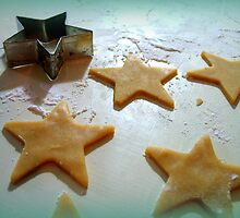 Christmas Cookie Cutter Green Stars by Pamela Burger