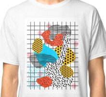 Wig Out - memphis style shapes retro pop art pattern dots stripes squiggles 1980's 80s 80's style grid Classic T-Shirt