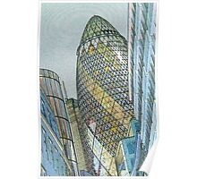 The Gherkin Building London Poster