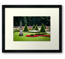 Beautiful park with a statue Framed Print