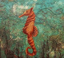 """ The Dragon Beneath A Seahorse "" (36x48 inch) Mixed media/Canvas. by Gaby Rico"