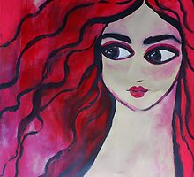 """""""Red Portrait"""" (40x30 inch.)Tempera & Acrylic/ Paper/ Framed. by Gaby Rico"""