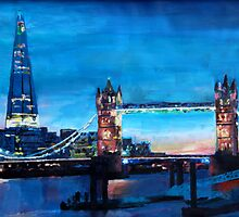 London Tower Bridge and The Shard at Dusk by artshop77