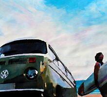 The Green VW Surf Bus by artshop77
