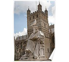 The Statue of Richard Hooker outside Exeter Cathedral topped by a Seagull Poster