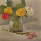 various roses in a glass vase by joycecolburn