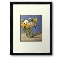 glass vase with daffodils  and daisies Framed Print