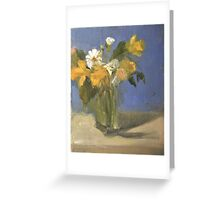 glass vase with daffodils  and daisies Greeting Card