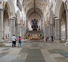 Inside Exeter Cathedral, Exeter, Devon. by Keith Larby