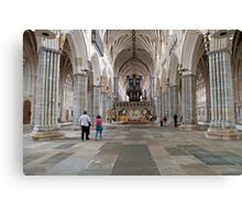 Inside Exeter Cathedral, Exeter, Devon. Canvas Print