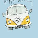 Happy Birthday VW Camper Van  by AndyLanhamArt