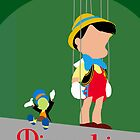 Pinocchio minimal poster by Zoe Toseland