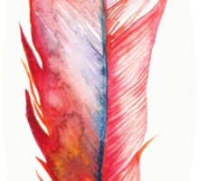 Watercolor Feather Red Sticker