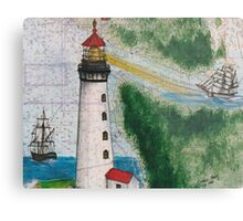 Destruction Island Lighthouse Map Art Cathy Peek Metal Print