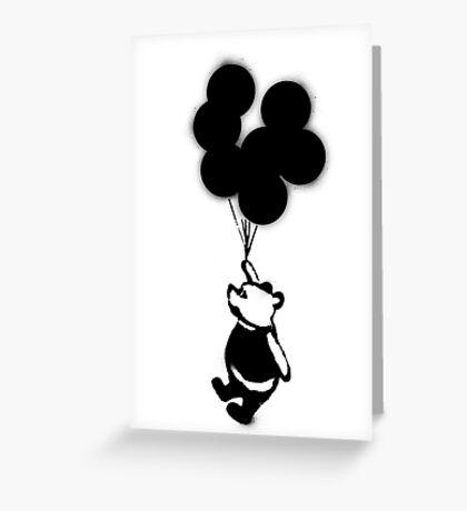 Flying Balloon Bear Greeting Card