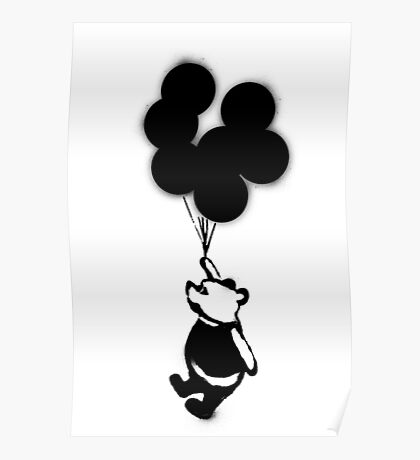 Flying Balloon Bear Poster