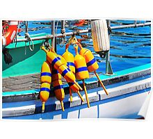 Yellow and Blue Buoys  Poster