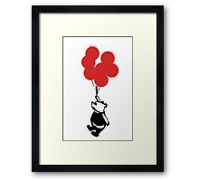 Flying Balloon Bear - Red Balloons Version Framed Print