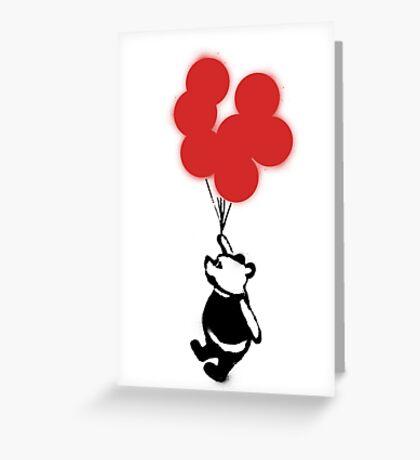 Flying Balloon Bear - Red Balloons Version Greeting Card