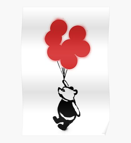 Flying Balloon Bear - Red Balloons Version Poster