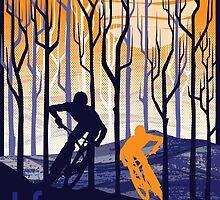 retro mountain bike poster illustration by SFDesignstudio