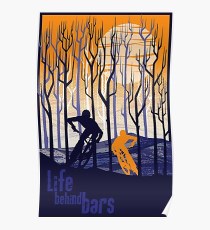 retro mountain bike poster illustration Poster