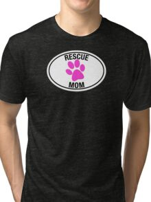 RESCUE MOM - PINK HEART Tri-blend T-Shirt