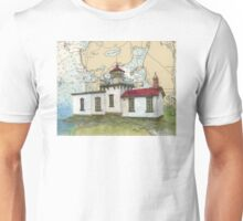 West Pt Lighthouse WA Nautical Map Cathy Peek Unisex T-Shirt