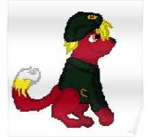 Red Furry Communist Dog Pixel Poster
