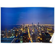 Chicago Cityscapes South at Night Poster