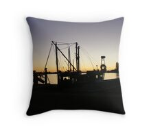Boat Silhouette at Forster NSW Australia Throw Pillow
