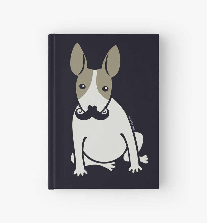 English Bull Terrier with Moustache - puppy dog by Zoe Lathey