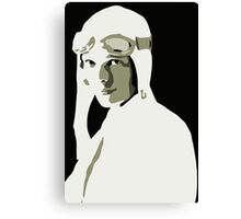 Amelia Earhart grayscale vector art Canvas Print