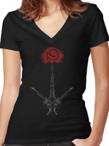 Rose and Tower Women's Fitted V-Neck T-Shirt